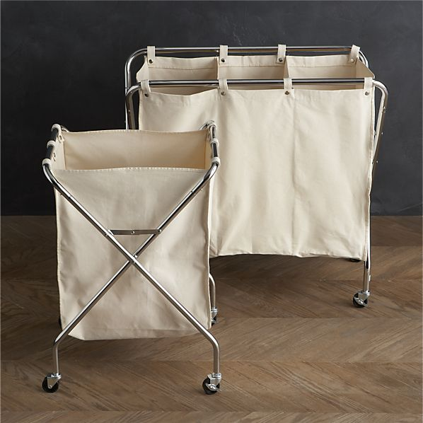 Canvas hamper and three section sorter
